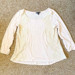 Light Pink 3/4 length shirt with Lace detail